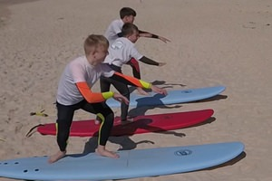 Children's surfing for three children